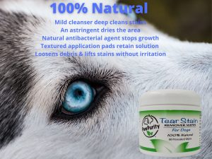 Image shows a list of qualities in PawPurity Tear Stain Wipes for Dogs
