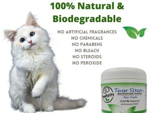 PawPurity Tear Stain Wipes for Cats Container shows they are biodegradable and 100% natural