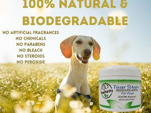 PawPurity Tear Stain Wipes for Dogs are 100% natural and biodegradable