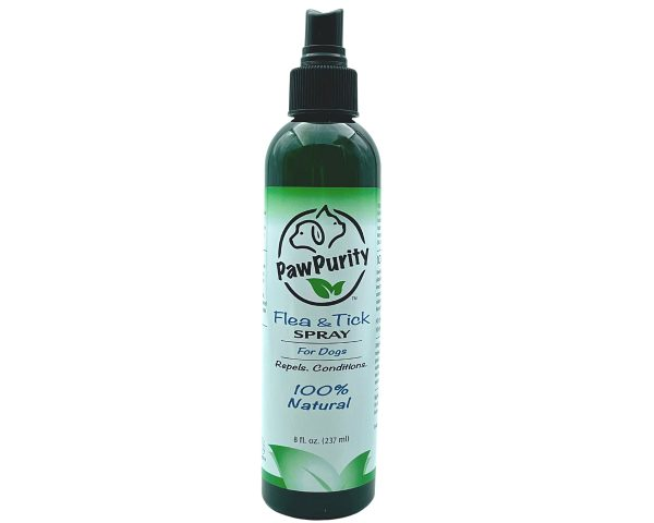 PawPurity Flea & Tick Spray label shows that the product is 100% natural