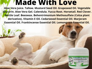 A list of ingredients show that PawPurity's Healing Paw Conditioner is made with love for animals.