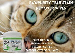 PawPurity Tear Stain Remover Wipes for Cats is Hypo Allergenic as shown in this image