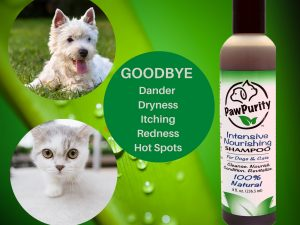 PawPurity Intensive Nourishing Shampoo has ingredients that alleviates dander, dryness, itching, redness and hot spots.