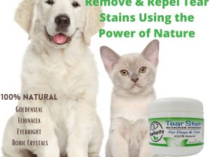 Dog and cat showing ingredients in PawPurity Tear Stain Remover Powder being all natural