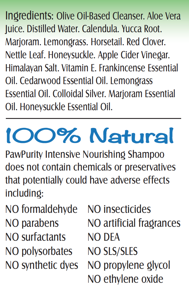 PawPurity Flea & Tick Shampoo is 100% natural as shown on its label.