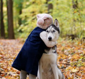 Child hugging a dog shows how easy it would be for pesticide flea treatments to rub off on the child, used in an article by PawPurity pointing out Chemical vs Natural Flea Prevention Treatments on Dogs article