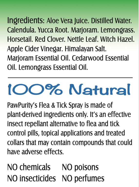 PawPurity Flea & Tick Spray repels using 100% natural ingredients as shown on this label.